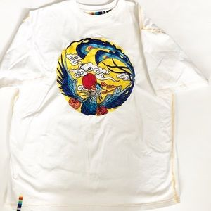 Unique Men's Asian inspired embroidered tee